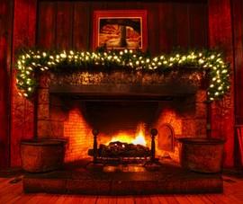 暖炉,炎,山小屋,ロッジ